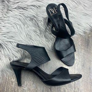 Diane Von Furstenberg Black Leather Cut Out Heels